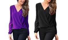 This shirt has puffy, long sleeves, drape front and a hollow lace patchwork on the back