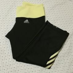 Adidas climalite capri joga pants. Great condition,once worn.Dark grey and yellow. Adidas Pants