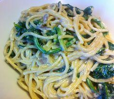 Vegane Pasta mit Spinatcrème. rezept auf www.tavelsilber.de