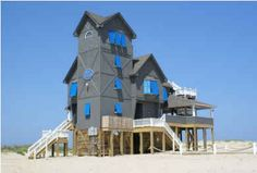 from Hooked on Houses: new owners purchased the house from the movie, Nights in Rodanthe, and moved it to safety.