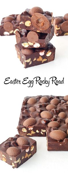 Easter Egg Rocky Road - The perfect gift for Easter! Easter Egg Rocky Road with roasted peanuts and mini marshmallows! Sweet Recipes, Cake Recipes, Dessert Recipes, Mini Marshmallows, Desserts Ostern, Easter Recipes, Easter Desserts, Easter Baking Ideas, Holiday Recipes