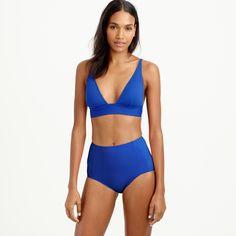 Plunge V-neck bikini top in Italian matte - solids -Women- J.Crew