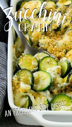 This zucchini gratin is layers of tender sauteed zucchini and cheese in a creamy sauce, topped with breadcrumbs and baked to perfection.