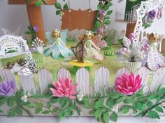 Fairyland Dear friends, Dr Sonia here to present to you the finale in my flower punch board tutorial series – a Fairy land diorama. Diy Projects To Try, Projects For Kids, Foam Crafts, Paper Crafts, Flower Punch Board, Fairy Tale Crafts, My Flower, Flowers, Card Making Tutorials