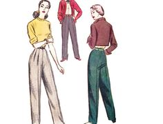 Pantalon modèle années 1940 dames, McCall 7804, plissé pantalons avec fermeture éclair latérale & 1 poche, patron de couture Vintage 1949, taille 24