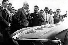 Ferruccio Lamborghini himself, proudly presenting his very first automobile, the 350 GTV