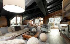 Wohnzimmer Chalet Möbel Naturstoffe Baumwolle handgewebt  http://wohn-designtrend.de/