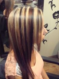 Image Detail for - Chunky blond highlights with dark and caramel low lights. This look ...