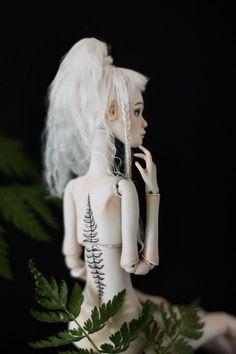 Tattooed porcelain BJD - ball jointed doll by Nymphai Dolls Fern tattoo bjd