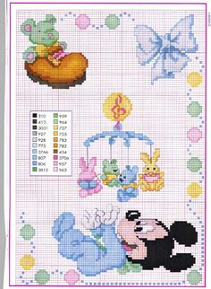 Mickey and Friends Disney Babies Cross Stitching, Cross Stitch Embroidery, Embroidery Patterns, Hand Embroidery, Disney Stitch, Disney Cross Stitch Patterns, Cross Stitch Designs, Cross Stitch Baby, Cross Stitch Charts