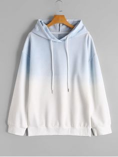 Drop Shoulder Casual Ombre Hoodie - BLUE AND WHITE M