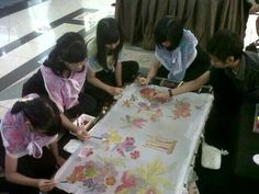 sketching and colouring ,,,,,silk painting workshop