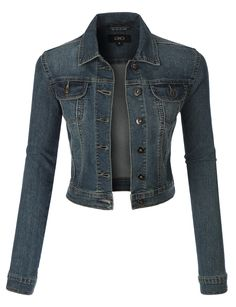 Sizes may run small; please choose a size up. This vintage cropped denim jacket will be a must for every outfit you wear! It is a tailored fit silhouette that hits at the hips. It is versatile for mul
