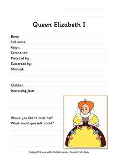 Elizabeth I worksheet