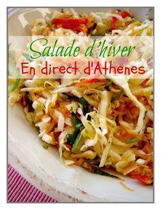 Λαχανοσαλάτα Une salade toute simple, pleine de vitamines pour la saison froide... Ingrédients : 400 g de chou blanc 2 carottes 4 tiges de céleri perpétuel ou le coeur d'un céleri branche 1 poivron corne rouge 1 gousse d'ail le jus d'1 citron huile d'olive...