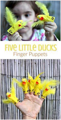 How to make a set of easy Five Little Ducks finger puppets - Fun for babies, toddlers and preschoolers. They are a perfect prop to sing along with the nursery rhyme, and introducing early maths concepts (counting, subtracting by one, etc) in a playful way