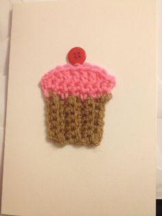 Crocheted cupcake birthday card by HeartyFarty on Etsy, £2.50