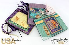 60 Second Tutorial Mini Notebooks, Midnight Masquerade, By Magda Cortez, Product by Graphic 45 Mini Scrapbook Albums, Scrapbook Cards, Mini Albums, Scrapbooking Ideas, Notebook Covers, Graphic 45, Last Minute Gifts, Smash Book, Book Making