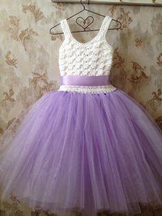 Lavender flower girl tutu dress crochet tutu dress wedding by Qt2t, $69.99