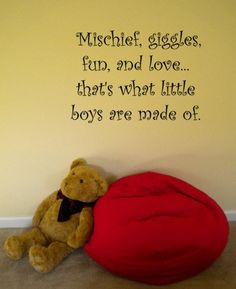 Mischief, giggles, fun and love...Thats what little boys are made of. For the shared bedroom with a vinyl on the other side of the room saying Sugar and spice and everything nice...Thats what little girls are made of.