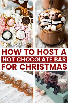 How to Host the Perfect Hot Chocolate Bar for Christmas - Chocolate Recipes Hot Chocolate Toppings, Hot Chocolate Party, Christmas Hot Chocolate, Hot Chocolate Recipes, Hit Chocolate Bar, Chocolate Gifts, Christmas Party Food, Christmas Brunch, Christmas Desserts