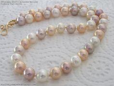 Metallic multicolor freshwater pearl necklace