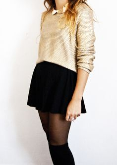 tights + black skirt + gold collared top