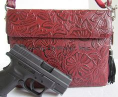 Cherry Tooled Leather Concealment Purse