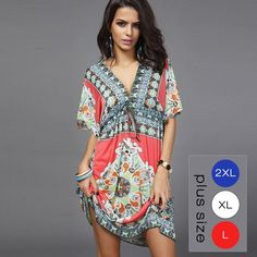 afe9360378f Boho Summer Women Dress Sexy Loose Sundresses Deep V Ethnic Dashiki Print  Tunic Beach Dresses Big Size 2XL Woman SunDress Robe