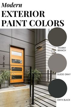 Modern Exterior Paint Colors Modern exterior paint color combinations for your home. Paint your exterior with confidence using these color schemes. Exterior Paint Color Combinations, Interior Design Color Schemes, Modern Color Schemes, Exterior Color Schemes, Modern Colors, Exterior Gris, Exterior Gray Paint, House Paint Exterior, Exterior Design
