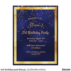 Shop birthday party blue gold confetti invitation postcard created by EllenMariesParty. Guys 21st Birthday, Blue Birthday Parties, 50th Birthday Party Invitations, 60th Birthday Party, Gold Invitations, Birthday Beer, Birthday Cakes, Invites, Blue Gold