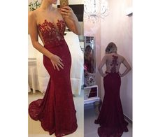 Burgundy Prom Dresses,Backless Prom Dress,Lace Prom Dress,Wine Red Prom Dresses,2016 Formal Gown,Open Back Evening Gowns,Open Backs Party Dress,Modest Prom Gown For Teens