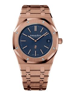 New Men's Style Section: Audemars Piguet Royal Oak 39mm extra-thin, 18-karat pink gold case and bracelet. Click to see more gold watches.