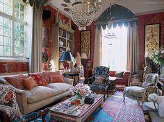 plethora of jubilant patterns in this enchanting English sitting room