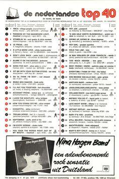 15e jaargang nr. 04 27 januari 1979 80s Songs, Music Charts, Old Tv Shows, Top 40, History, Retro, Memories, Playlists, Veronica