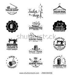 Vector set of vintage tailor labels, badges and hand drawn design elements.