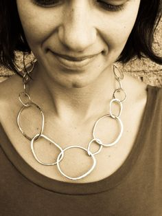 Hammered Sterling Silver Chain Necklace by SaaraReidsema on Etsy, $160.00