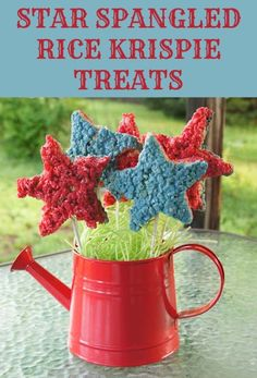 Star Spangled Rice Krispies Treats perfect for 4th of July holiday party.