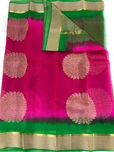 Pure antique gold organza sarees