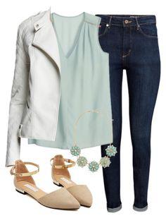 """""""Alison Dilaurentis inspired outfit with a white leather jacket"""" by liarsstyle ❤ liked on Polyvore featuring H&M, Tart, date and mid"""