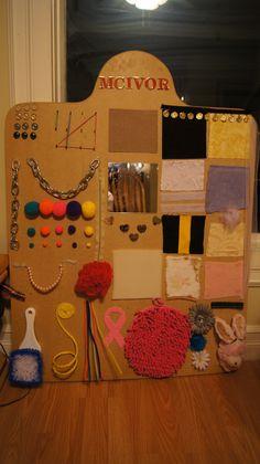 Homemade Sensory Board!! Magnets, Snaps, Velcro, Textures, Zipper, Etc.