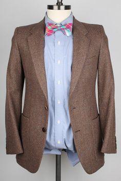 Yves Saint Laurent YSL Rustic Brown Tweed Wool Weave 34 R mens Sport Coat  #YvesSaintLaurent #TwoButton