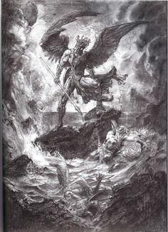 Paradise Lost – The Art of Simon Bisley Dark Fantasy Art, Fantasy Kunst, Dark Art, Simon Bisley, Archangel Tattoo, Arte Dark Souls, Arte Indie, Satanic Art, Biblical Art