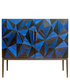 Avila Cabinet In Blue And Black Straw Marquetry  Contemporary, Metal, Natural Material, Wood, Cabinet by Simon Orrell Designs