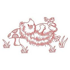 Redwork Hedgehog Nap embroidery design