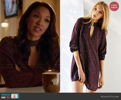 Iris's purple floral keyhole front tunic dress on The Flash.  Outfit Details: http://wornontv.net/44838/ #TheFlash