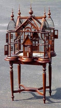 victorian style birdcage on stand