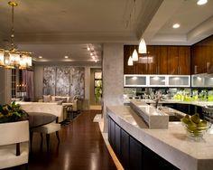 Deluxe Condominium Interior in Glamorous Style : Awesome Modern Kitchen Fancy Pendant Lamp Bexley Gateway Condominium