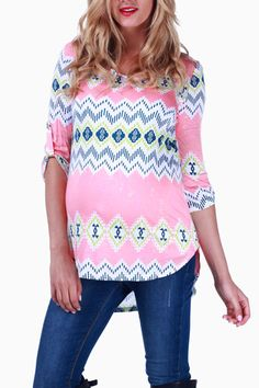 Pink-Green-Tribal-Print-Maternity-Top