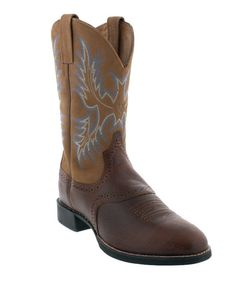 "Ariat Heritage Stockman 11"" Tan & Barrel Brown Western Boot - ATS technology gel-cushion insole lessens foot fatigue and stress Duratread outsole helps resist slipping gift idea for cowboys man men drysdales.com western menswear for rugged men"